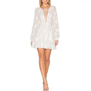 For Love & Lemons Jolene Lace Up Dress in White S